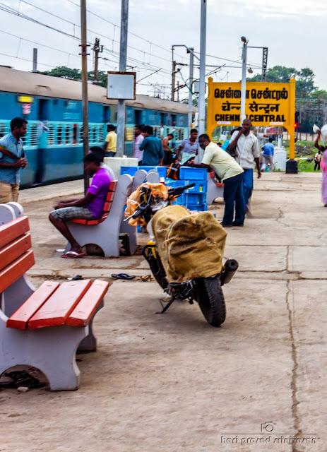 Bike unloaded in Chennai central railway station