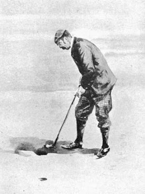 Golfer Allan Macfie showing putting