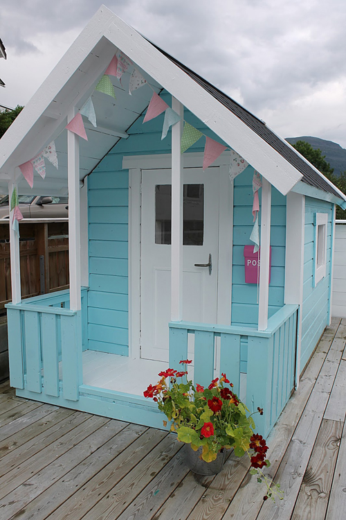 Outisde The most amazing little DIY Play Shed for Girls!