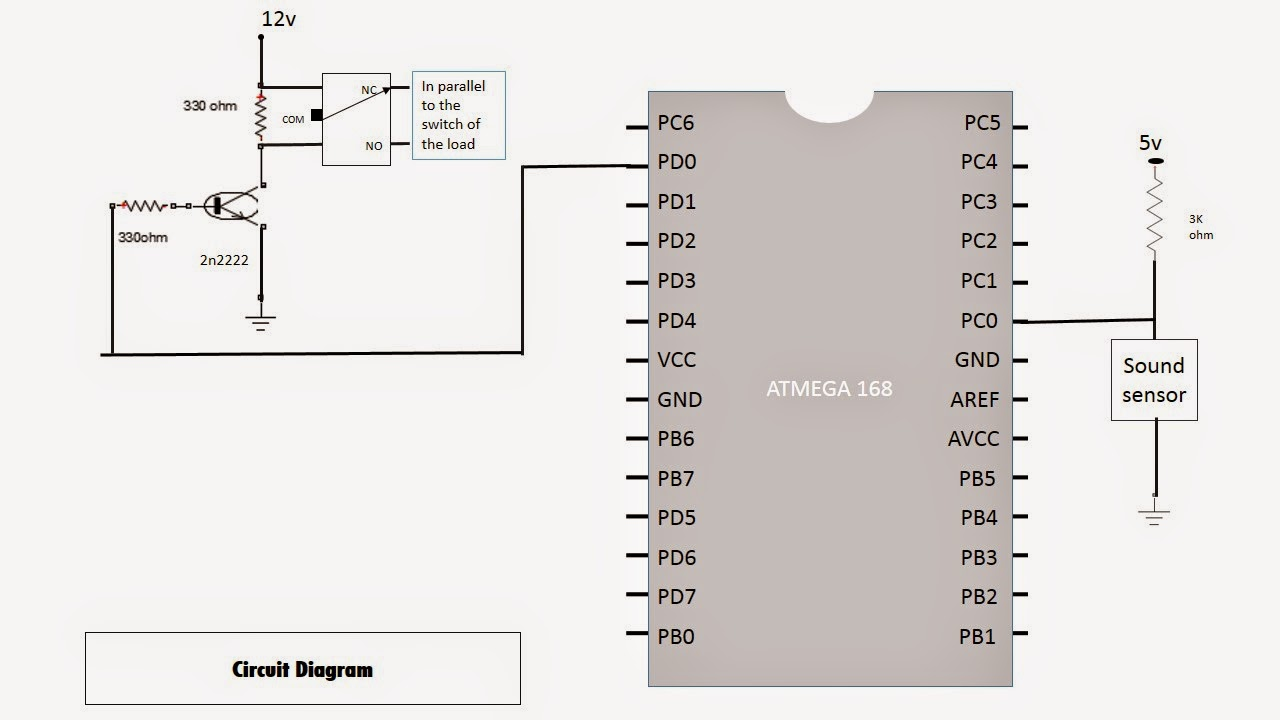 Clap Circuit Slide Wiring And Diagram Hub Switch Light Control Simulated By Clapping Using Atmega 168 Project