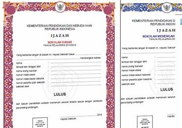 Format Dan Contoh Blangko Ijazah Dan SHUN 2016 Balitbang Kemdikbud