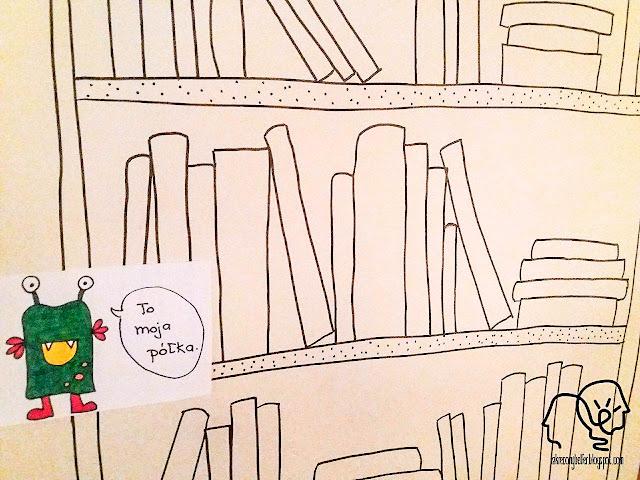 kolorowa półka z książkami