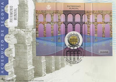 Sobre PDC con la hoja bloque de la moneda de dos euros dedicada al acueducto de Segovia