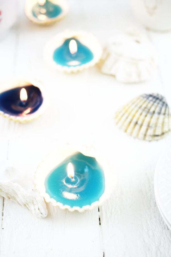 DIY Muschel Kerzen selber machen. titatoni.de