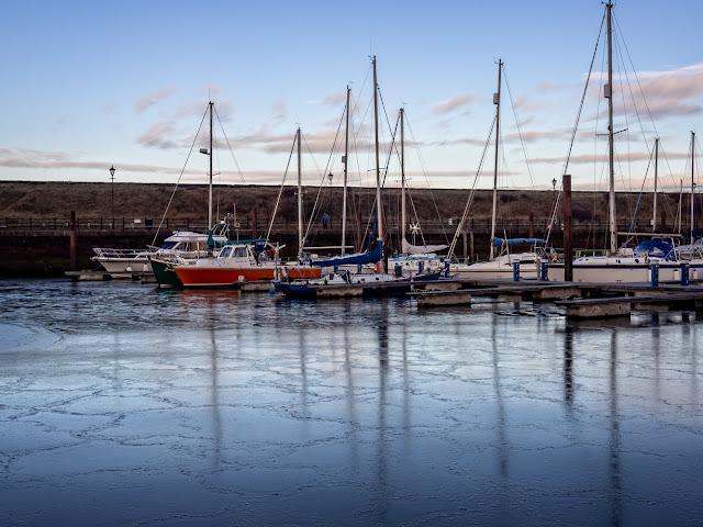 Photo of ice on Maryport Marina on Saturday morning