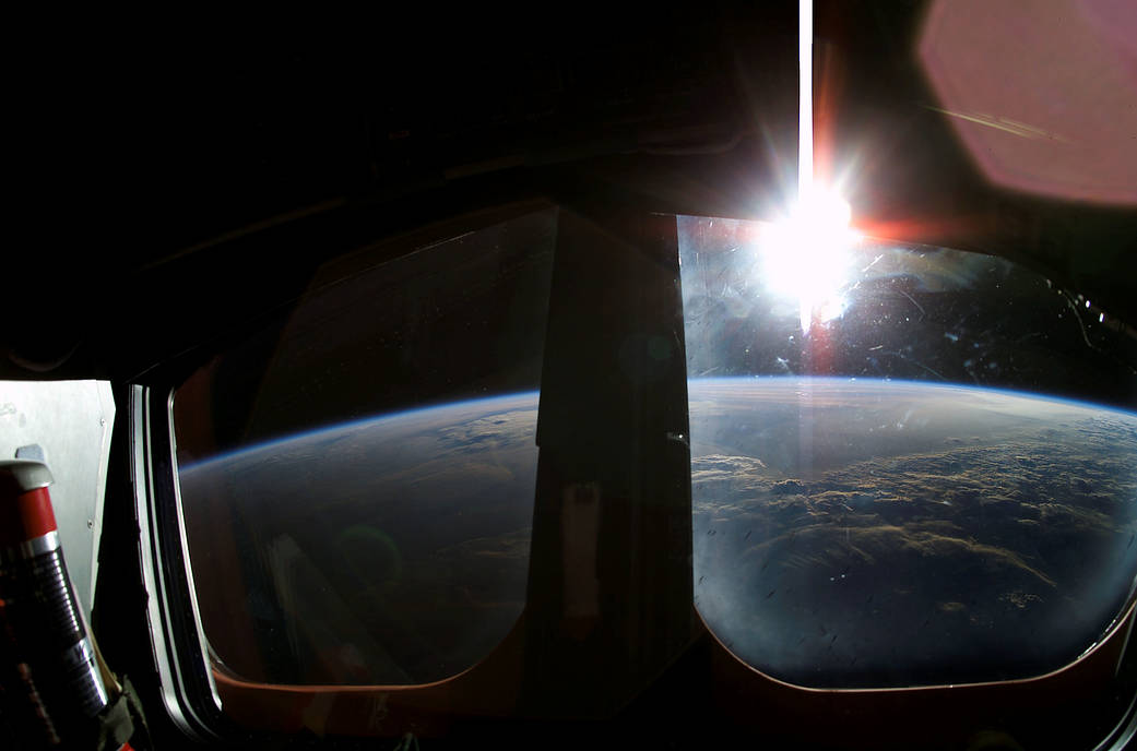 sunrise from the window of the crew of the Columbia shuttle