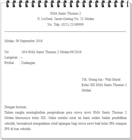 Contoh Format Surat Dinas Untuk Sekolah Yang Lengkap