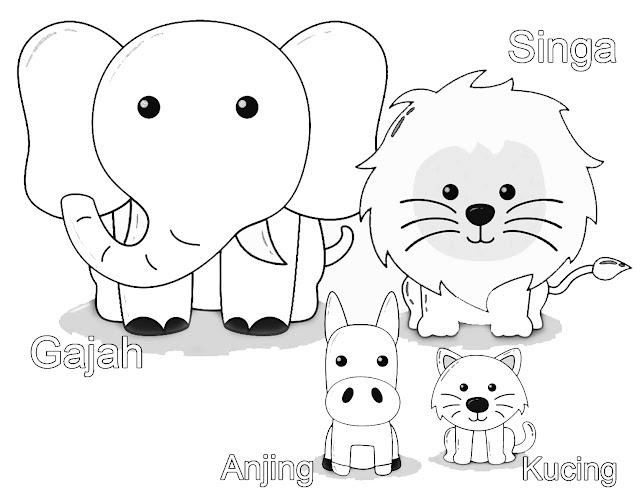 gambar mewarnai gajah, singa, anjing dan kucing