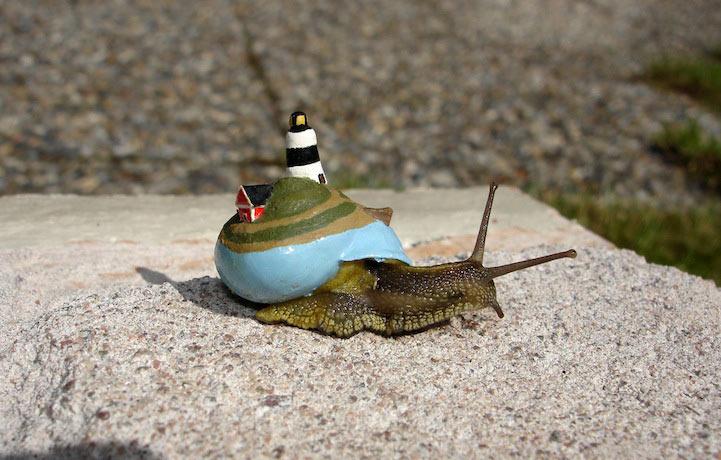 Artista da a las conchas de caracol una modernización para que la masa los pise accidentalmente