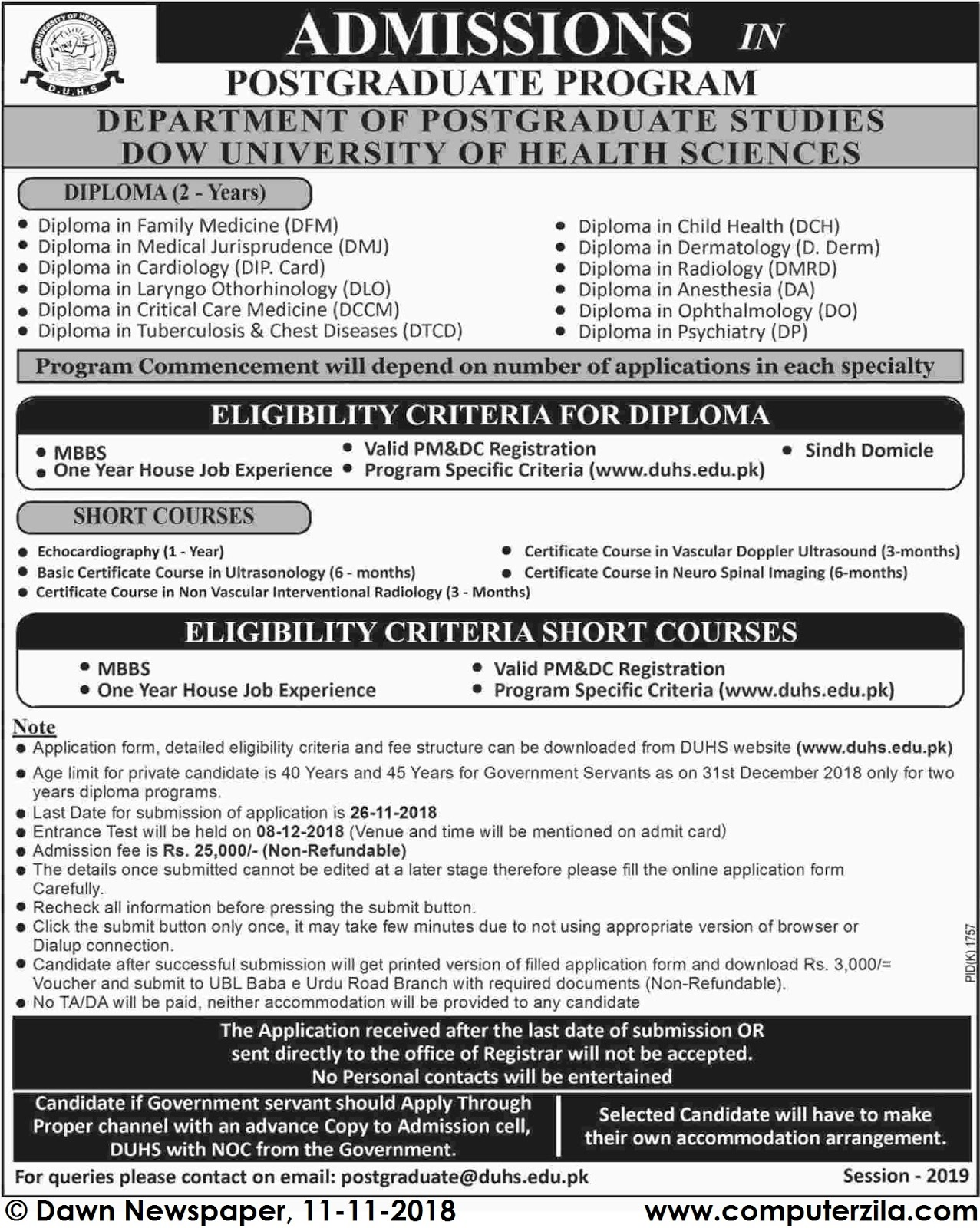 Admissions Open For Spring 2019 At DUHS Karachi Campus