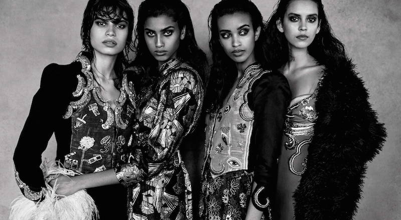 enchanting women: gigi hadid, liya kebede, imaan hammam, nirvana naves, yana bovenistier and mical bockru by patrick demarchelier for vogue italia april 2016