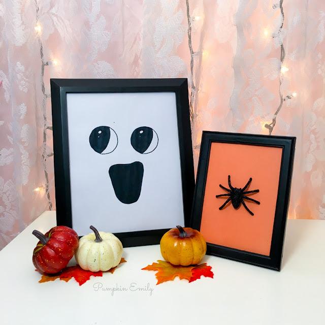 Halloween DIY Spider Frame Art and DIY Ghost Frame Art