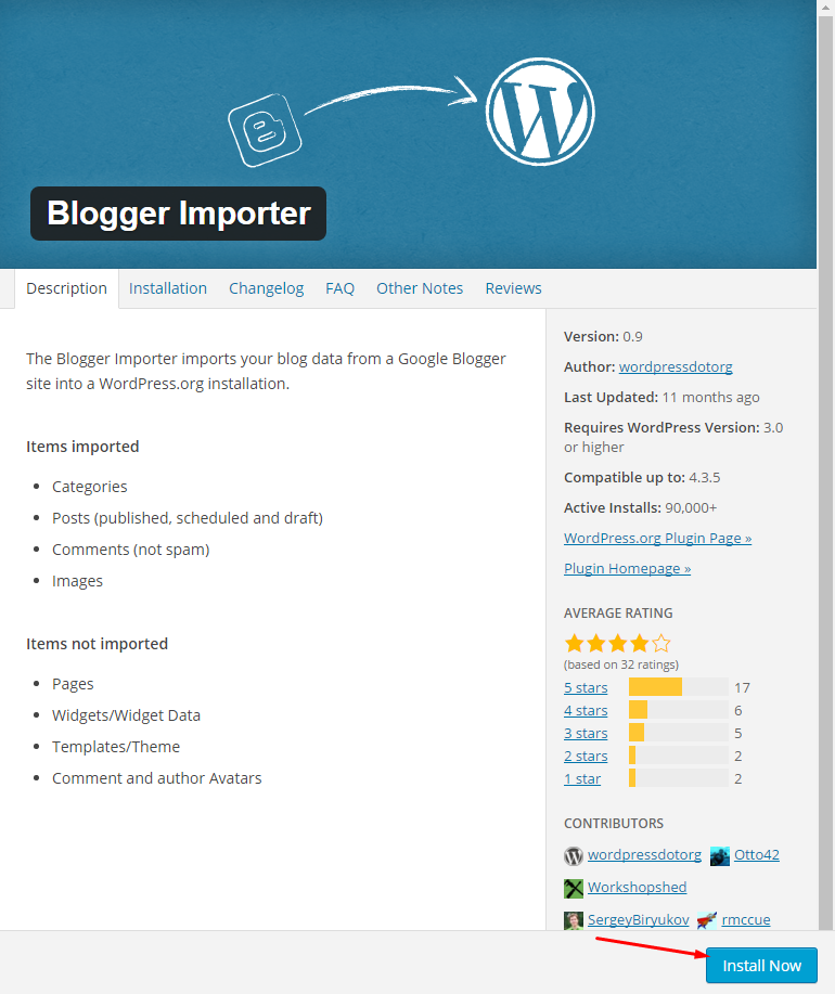 Blogger Importer WP Plugin