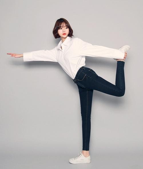 Garterized Waist Plain Skinny Jeans