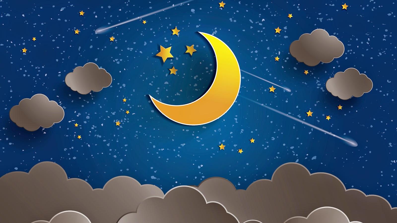 3D maan, wolken, sterren, blauwe hemel en vallende sterren