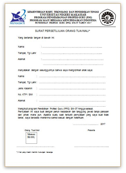 Contoh Surat Persetujuan Orang Tua/Wali Untuk Mengikuti ...