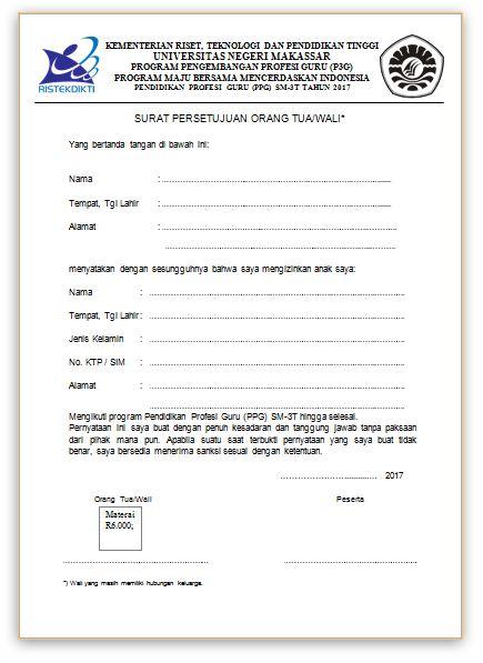 Contoh Surat Persetujuan Orang Tuawali Untuk Mengikuti Ppg