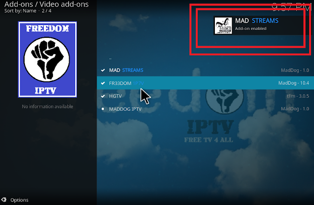 MAD STREAMS addon installed in kodi