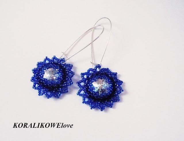 ręcznie robione kolczyki z koralików z kryształkami rivoli