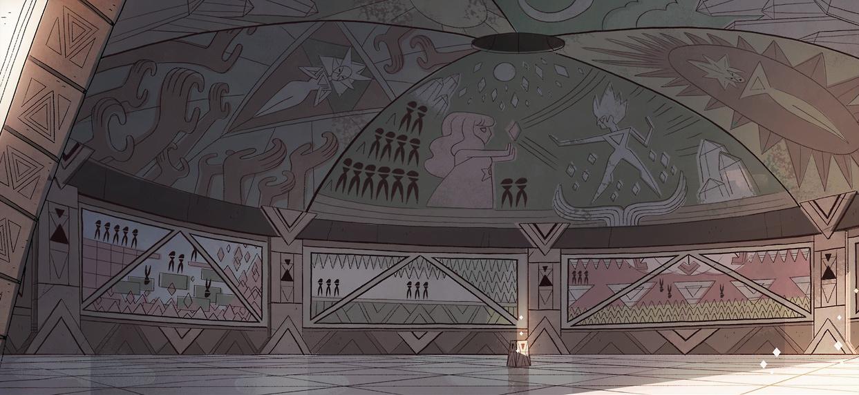 Steven Universe: Templo con pinturas de las batallas de la guerra
