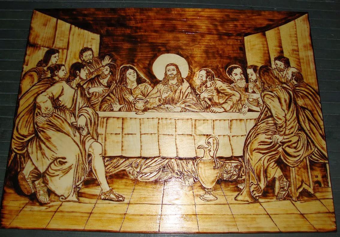 última Ceia de Cristo em pirogravura