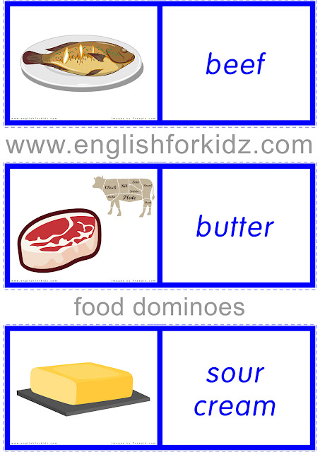 Food dominoes -- printable game for EFL and ESL students