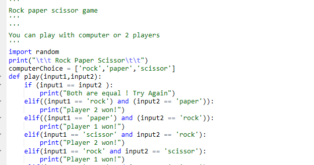 Learn Python: Program for Rock Paper Scissor Game in Python