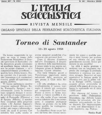 Artículo de Enrico Paoli, aparecido en L'Italia Scacchistica del I Gran Torneo Internacional de Ajedrez Santander 1958