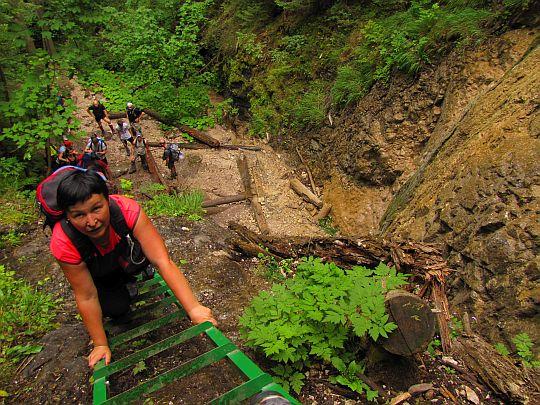 Drabinka przy Wodospadzie Tęczowym (słow. Dúhový vodopád).