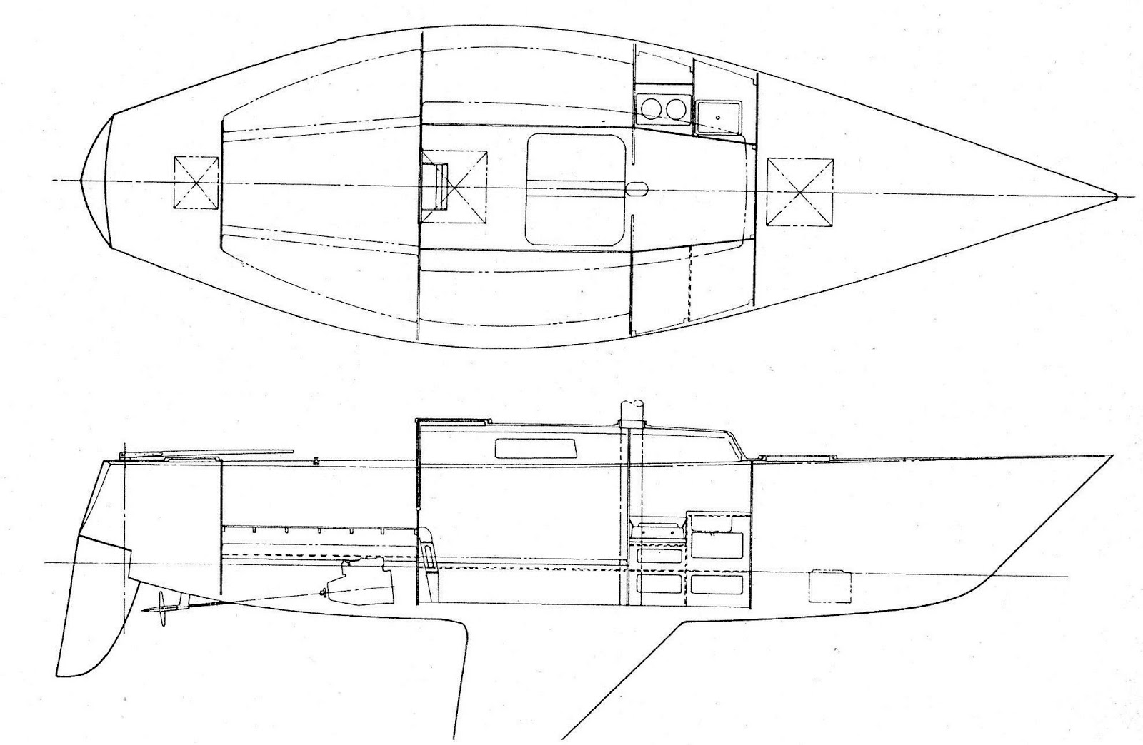Rb Sailing Ganbare Peterson One Tonner 7 Way Wiring Diagram Also Featured What Would Become The Trademark Of A Deep Forefoot Narrow Pintail Stern And Rudder Mounted Directly Under Small Transom