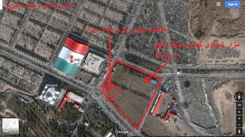 Aerial photo shows that the graves of martyrs have been vandalized and purred concrete over