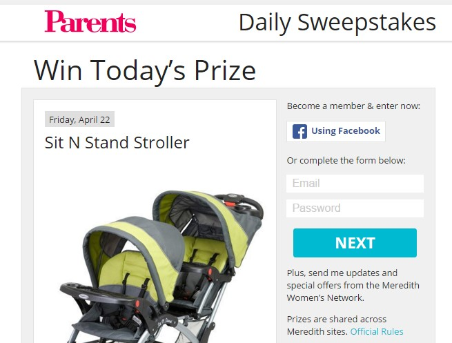 Parents Magazine Daily Sweepstakes ~ Sweepstaking.net - A one stop shop for Sweepstakes Addicts