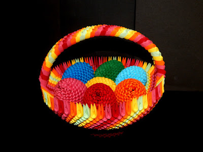 3D Origami Rainbow Basket  with 3d origami Easter egg