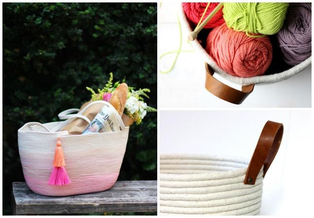 3 cestas hechas con cuerda- diy