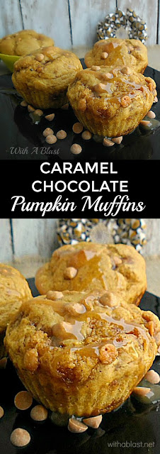 Caramel Chocolate Pumpkin Muffins is deliciously moist, packed with Pumpkin, Chocolate Chips with a Caramel drizzle ~ perfect for breakfast, tea time, a snack or lunchbox #PumpkinMuffins #FallRecipe #FallFavorite #Muffins