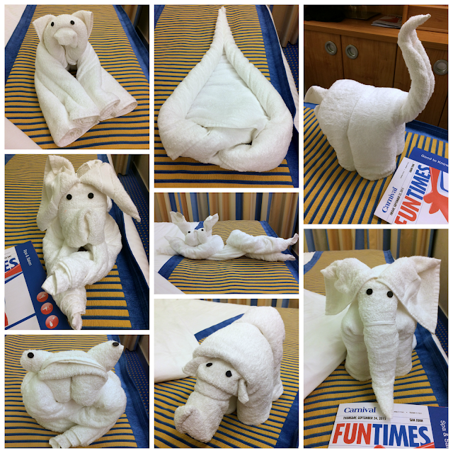 Towel Animals aboard the Carnival Sunshine