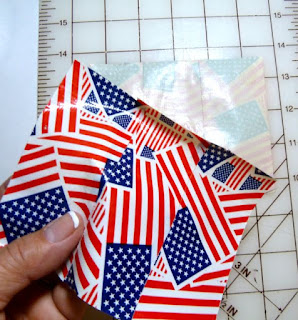 Patriotic duct tape long stem rose
