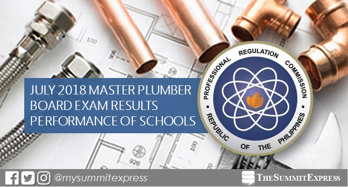 PERFORMANCE OF SCHOOLS: July 2018 Master Plumber board exam results