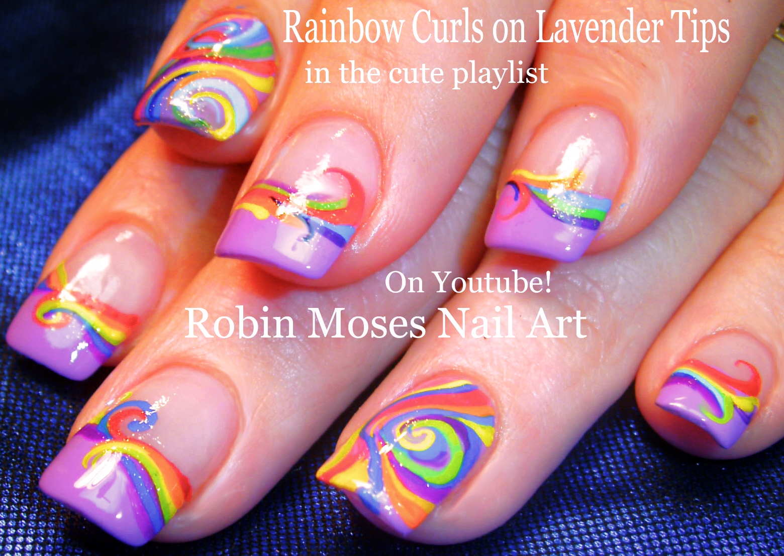 Rainbow Curls On Lavender Tips Nail Art Design Tutorial AND Pink Black And White Flower Nails