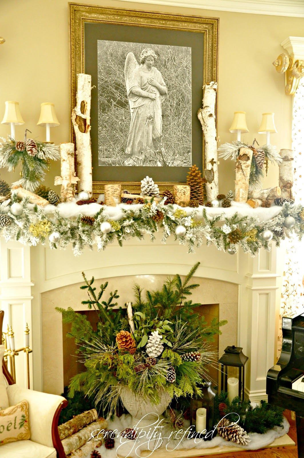 Serendipity Refined Blog: Woodland Winter Mantel..and NFL