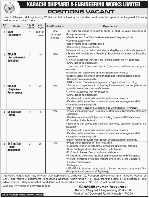 Advertisement for Karachi Shipyard and Engineering Works Jobs
