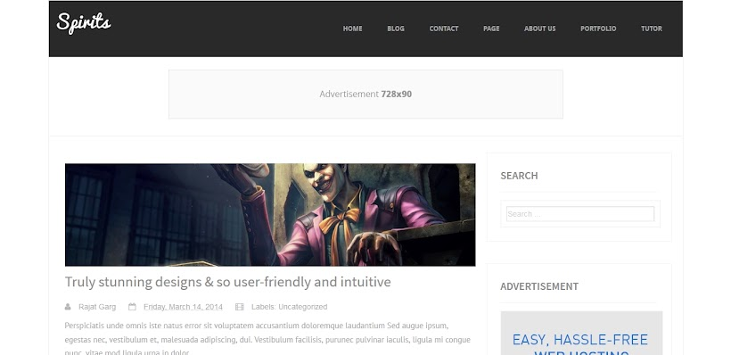 Spirits Free Blogger Template