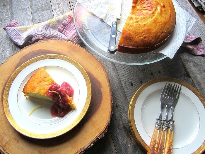 Olive Oil Cake W Ricotta Grape Coulis