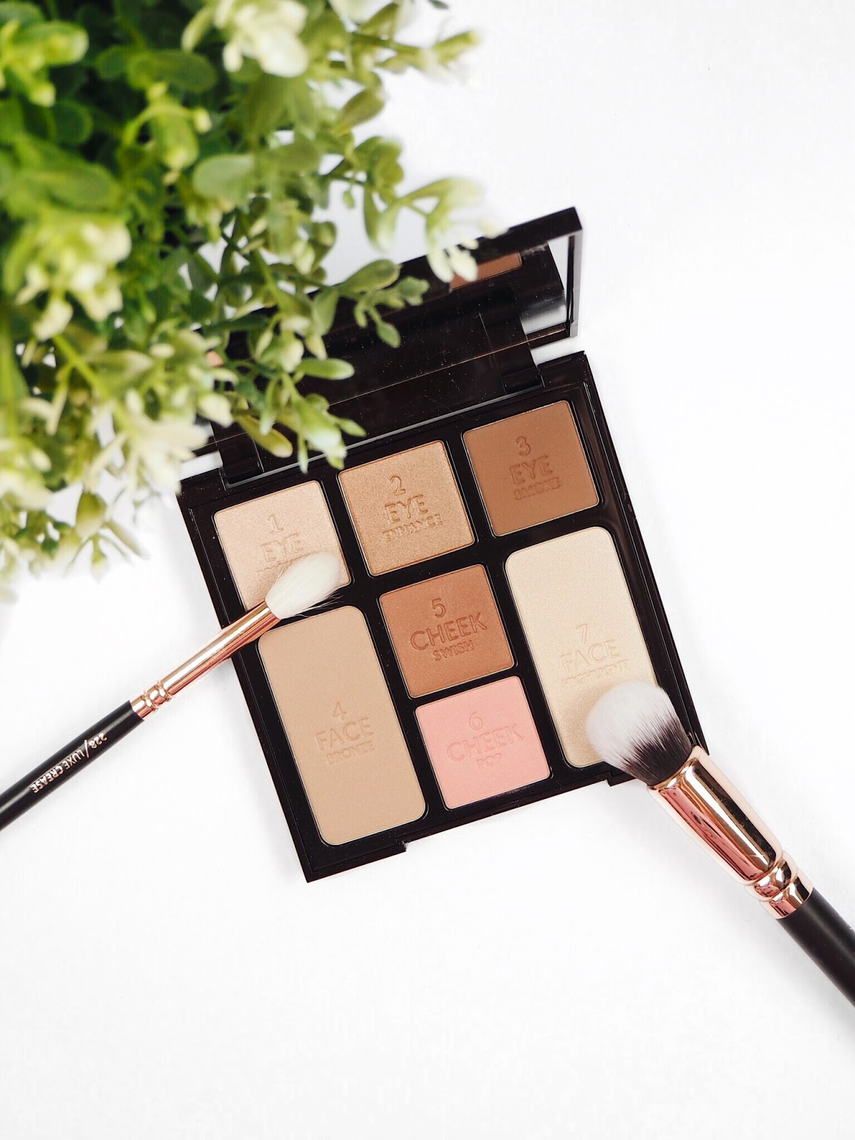 Charlotte Tilbury Beauty Glow Look In An Instant Palette with rose gold and bronze eyeshadows, with rose gold Zoeva makeup brushes, an IKEA plant (you can see green leaves) on a white background as a flatlay for a UK beauty blog review