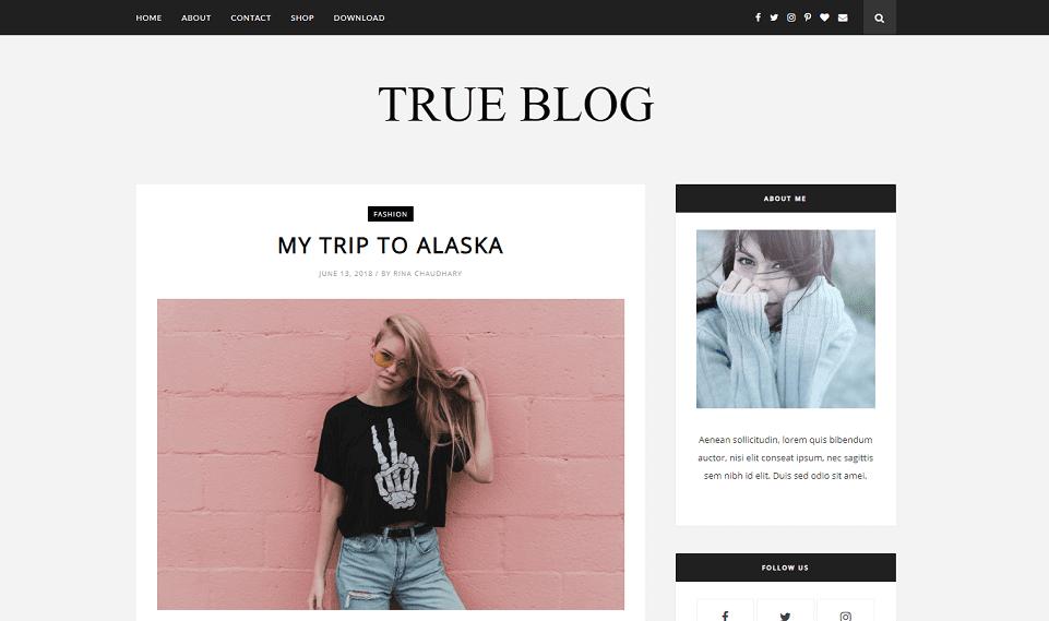 TrueBlog - Responsive Best Blogging Blogger Template