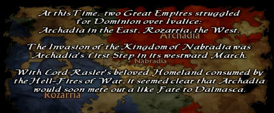 Image of the story information at the start of the game