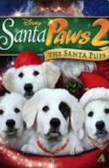 Movie poster with two dogs wearing Santa hats.