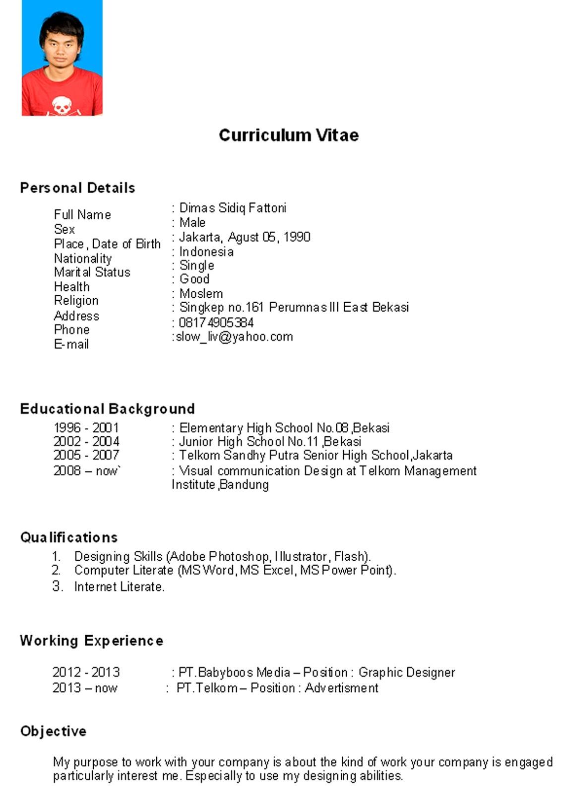 Curriculum Vitae Sample Bahasa Indonesia Marchigianadoc Tk