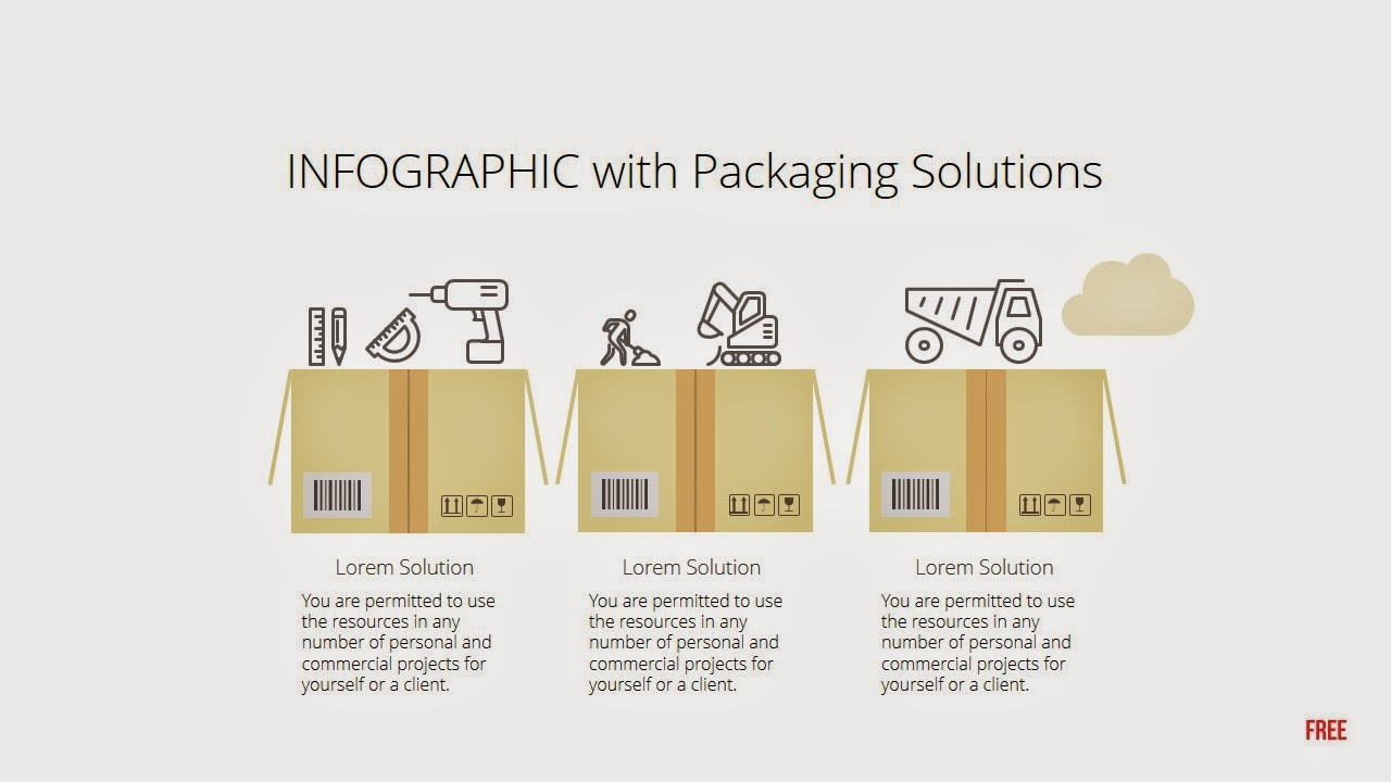 packaging box and icons free infographic powerpoint template