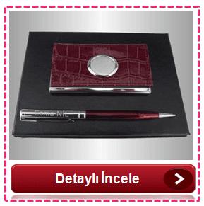 İsme Özel Kartvizitlik & Tükenmez Kalem Set